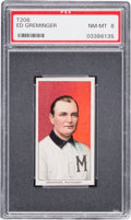 Baseball Cards:Singles (Pre-1930), 1909-11 T206 Old Mill Ed Greminger PSA NM-MT 8 - Pop One, OneHigher. ...