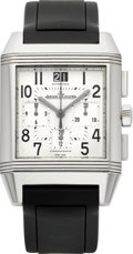 Timepieces:Wristwatch, Jaeger LeCoultre Ref. 230.8.45 Steel Reverso Squadra Chronograph Automatic GMT. ...