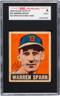 Autographs:Sports Cards, Signed 1948 Leaf Warren Spahn #32 SGC Authentic. ...