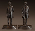 Fine Art - Painting, American:Modern  (1900 1949)  , GEORGE EDWIN BISSELL (American, 1839-1920). Abraham Lincoln: APair of Figural Bookends, circa 1916. Each, bronze with b...(Total: 2 Items)