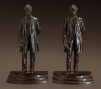 GEORGE EDWIN BISSELL (American, 1839-1920) Abraham Lincoln: A Pair of Figural Bookends, circa 1916 E