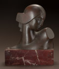 Fine Art - Sculpture, American:Modern (1900 - 1949), BORIS LOVET-LORSKI (American, 1894-1973). Head of Diana.Bronze with brown patina. 6-1/4 inches (15.9 cm) high on a 2 in...(Total: 2 Items)