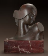 BORIS LOVET-LORSKI (American, 1894-1973) Head of Diana Bronze with brown patina 6-1/4 inches (15