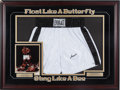 Boxing Collectibles:Autographs, 1990's Muhammad Ali Signed Boxing Trunks Display. ...