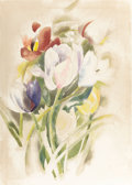 Fine Art - Work on Paper:Watercolor, CHARLES DEMUTH (American, 1883-1935). Tulips, 1923.Watercolor and pencil on paper. 14 x 10 inches (35.6 x 25.4 cm).Sig...