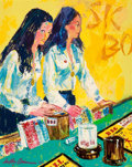 Illustration:Sporting, LEROY NEIMAN (American, 1921-2012). Sic Bo Dealers (The Girls ofCaesars Palace), 1980. Oil on canvas. 30 x 24 inches (7...