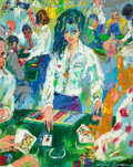 Illustration:Sporting, LEROY NEIMAN (American, 1921-2012). 21 Dealer (The Girls ofCaesars Palace), 1980. Oil on canvas. 30 x 24 inches (76.2 x...