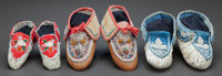 THREE PAIRS OF IROQUOIS BEADED HIDE MOCCASINS