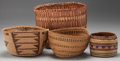 American Indian Art:Baskets, FOUR WEST COAST TWINED BASKETS... (Total: 4 Items)