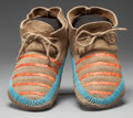 American Indian Art:Beadwork and Quillwork, A PAIR OF SIOUX QUILLED HIDE MOCCASINS... (Total: 2 Items)