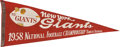 Football Collectibles:Others, 1958 New York Giants NFL Championship Pennant....