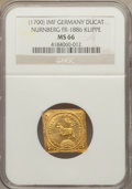 German States:Nurnberg, German States: Nurnberg. Free City gold Klippe Ducat ND (1700)-IMF MS66 NGC,...