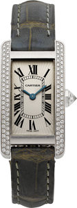 Timepieces:Wristwatch, Cartier Ref. 1713 Fine Diamond & White Gold Tank Americaine Lady's Wristwatch. ...
