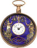 Timepieces:Pocket (pre 1900) , Swiss Gold Quarter Repeater With Automaton Needing Repair, circa1810. ...