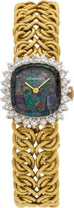 Timepieces:Wristwatch, Longines 18k Gold, Diamond & Opal Lady's Wristwatch. ...