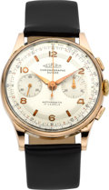 Timepieces:Wristwatch, Hesperia, Swiss, 18k Rose Gold Chronograph, Landeron 51. ...