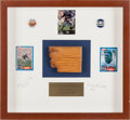 Football Collectibles:Others, 1958 NFL Championship Game Used Goal Post Piece in Signed Shadowbox Display....