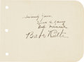 "Autographs:Others, 1942 Babe Ruth & Gary Cooper ""The Pride of the Yankees"" Signed Album Page...."
