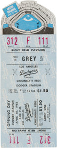 Baseball Collectibles:Tickets, 1962 Los Angeles Dodgers Stadium Grand Opening Full Ticket....