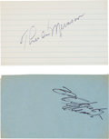 Autographs:Index Cards, Circa 1971 Thurman Munson & Roberto Clemente Signed Index CardsLot of 2....