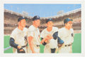 Autographs:Others, 1980's Mickey Mantle, Billy Martin, Yogi Berra & Whitey FordSigned Print....
