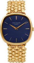 Timepieces:Wristwatch, Patek Philippe Ref. 3644/2 Very Fine Cushion Shaped Gold Wristwatch, circa 1976. ...