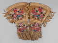 American Indian Art:Beadwork and Quillwork, THREE PAIRS OF PLATEAU BEADED HIDE GAUNTLETS. c. 1910... (Total: 3Items)