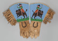 American Indian Art:Beadwork and Quillwork, A PAIR OF PLATEAU PICTORIAL BEADED HIDE GAUNTLETS. c. 1900. ...