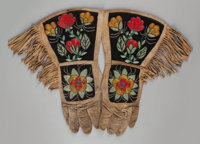 TWO PAIRS OF PLATEAU BEADED HIDE GAUNTLETS c. 1910
