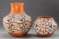 American Indian Art:Pottery, TWO ACOMA POLYCHROME JARS. c. 1945... (Total: 2 Items)