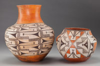 TWO ACOMA POLYCHROME JARS c. 1945