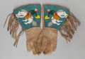 American Indian Art:Beadwork and Quillwork, A PAIR OF PLATEAU PICTORIAL BEADED HIDE GAUNTLETS. c. 1910. ...