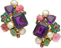 Estate Jewelry:Earrings, Multi-Stone, Cultured Pearl, Gold Earrings. ...