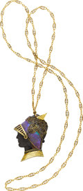 Estate Jewelry:Necklaces, Antique Boulder Opal, Gold Necklace. ...
