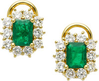 Emerald, Diamond, Gold Earrings