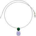 Estate Jewelry:Necklaces, Jadeite Jade, White Gold Necklace. ...