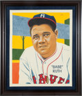 "Baseball Collectibles:Others, Arthur Miller Original Art Babe Ruth Boston Braves ""Card That NeverWas"" 1935 Diamond Stars.. ..."
