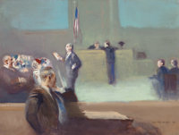 GUY PÈNE DU BOIS (American, 1884-1958) Addressing the Jury, 1947 Oil on masonite 19-3/4 x 25 inch