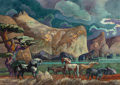 Fine Art - Painting, American:Contemporary   (1950 to present)  , MILLARD SHEETS (American, 1907-1989). StallionConfrontation, 1985. Watercolor on paper. 29 x 41 inches (73.7x 104.1 cm...