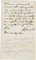 Autographs:U.S. Presidents, Abraham Lincoln and Andrew Johnson Autograph Endorsements Signed,Both as President....
