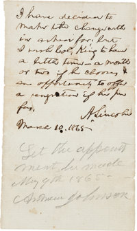Abraham Lincoln and Andrew Johnson Autograph Endorsements Signed, Both as President