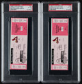Baseball Collectibles:Tickets, 1998 Mark McGwire 62nd Home Run PSA NM-MT 8 Full Ticket Pair (2)....