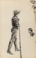 Fine Art - Work on Paper:Drawing, EDWARD HOPPER (American, 1882-1967). Boy with Rifle andBust of Woman (double-sided work). Ink and pencil on paper....