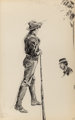 EDWARD HOPPER (American, 1882-1967) Boy with Rifle and Bust of Woman (double-sided work) Ink and pencil on paper
