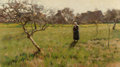 Fine Art - Painting, American:Antique  (Pre 1900), ARTHUR WESLEY DOW (American, 1857-1922). Brittany Field withFigure, 1889. Oil on canvas. 18-3/8 x 32 inches (46.7 x 81....