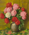 Fine Art - Painting, American:Modern  (1900 1949)  , JOSEPH HENRY SHARP (American, 1859-1953). Peonies, circa1936. Oil on canvas. 24 x 20 inches (61.0 x 50.8 cm). Signed lo...