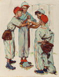 "Illustration:Sporting, NORMAN ROCKWELL (American, 1894-1978). Choosing Up (FourSporting Boys: Baseball), preliminary Brown & Bigelow ""FourSeaso..."