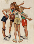 "Illustration:Sporting, NORMAN ROCKWELL (American, 1894-1978). Oh Yeah (Four SportingBoys: Basketball), preliminary Brown & Bigelow ""FourSeasons..."