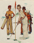 "Illustration:Sporting, NORMAN ROCKWELL (American, 1894-1978). Missed (Four SportingBoys: Golf), preliminary Brown & Bigelow ""Four Seasons""calen..."