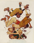 "Illustration:Sporting, NORMAN ROCKWELL (American, 1894-1978). First Down (Four SportingBoys: Football), preliminary Brown & Bigelow ""FourSeason..."